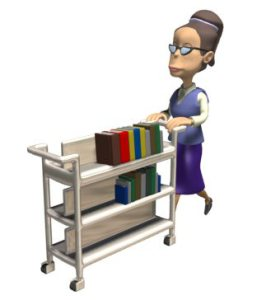 librarian with book cart